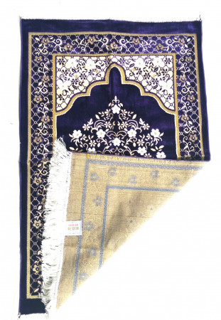 Velvet Islamic Prayer Rug / Janamaz / Musallah Navy Blue
