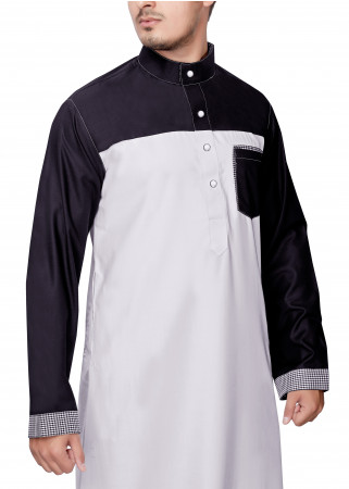 White with Black Sleeve Thobe