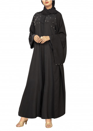 Black Abaya with White Pearl Accents