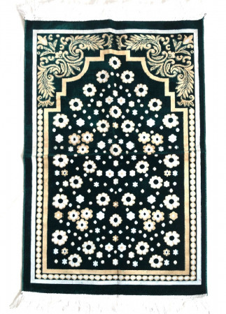 Luxury Velvet Islamic Prayer Rug / Janamaz / Musallah Green
