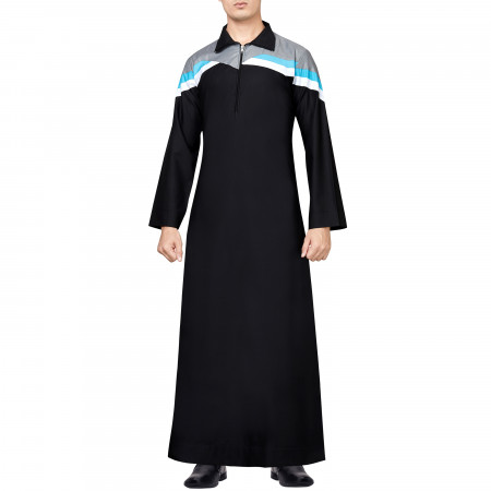 BLCK AND GREY THOBE WITH SKY BLUE, WHITE STRIPE