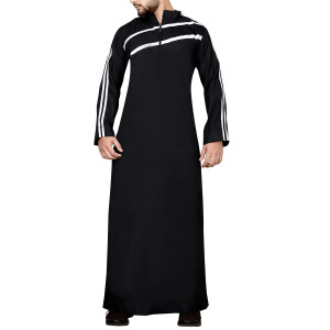 BLACK THOBE WITH WHITE STRIPE ON CHEST AND SLEEVES