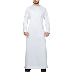 WHITE EMIRATI THOBE WITH ZIPPER