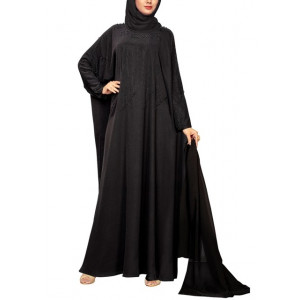 Black Abaya with Black Pearl Accents