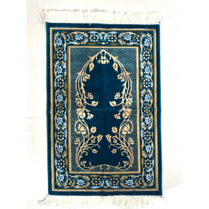 Velvet Islamic Prayer Rug Peacock Blue