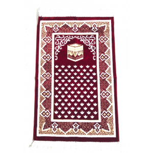 Luxury Velvet Islamic Prayer Rug / Janamaz / Musallah Maroon