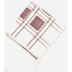 White Maroon Shimagh/Mens Scarf