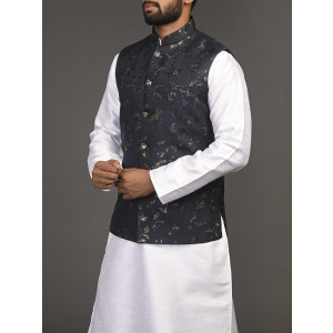 NAVY BLUE  SPECKLED WAIST COAT / NEHRU JACKET