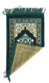 Kids Velvet Islamic Prayer Rug Green