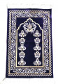 Luxury Velvet Islamic Prayer Rug / Janamaz / Musallah Blue